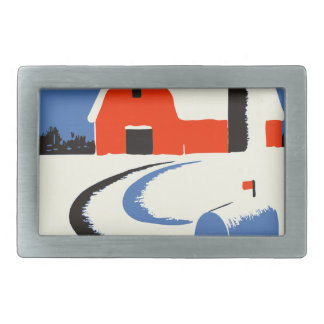 Barn And Mailbox In The Snow Rectangular Belt Buckles