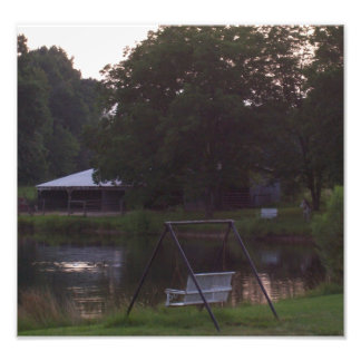 Barn and pond with animals photo art