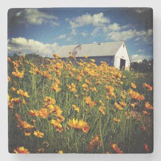 Barn and wildflowers stone coaster
