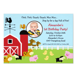"Barn Animal Fun Photo Birthday Party 5"" X 7"" Invitation Card"