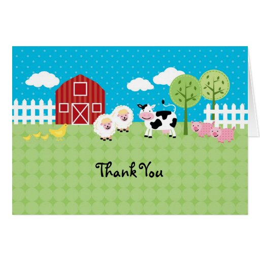Barn Animals Thank You Card