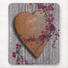 Barn Boards Rusted Heart Mouse Pad