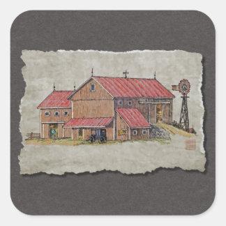 Barn Buggy & Windmill Square Sticker
