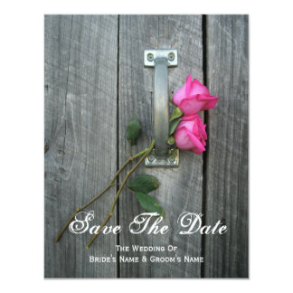 "Barn Door and Pink Roses Wedding Save The Date 4.25"" X 5.5"" Invitation Card"
