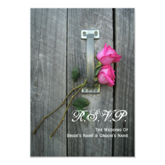 Barn Door and Pink Roses Wedding Small RSVP Card