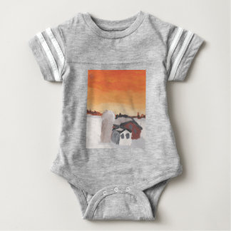 barn farm house sun sunset drawing eliana baby bodysuit