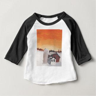 barn farm house sun sunset drawing eliana baby T-Shirt