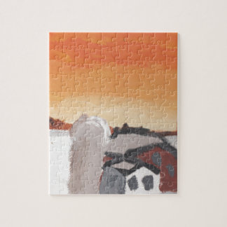 barn farm house sun sunset drawing eliana jigsaw puzzle