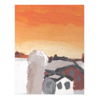 barn farm house sun sunset drawing eliana letterhead