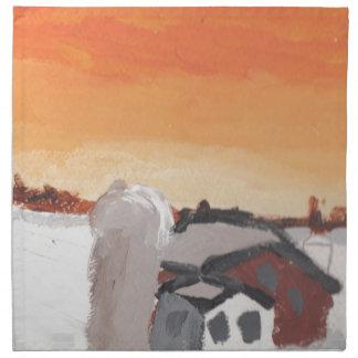 barn farm house sun sunset drawing eliana napkin