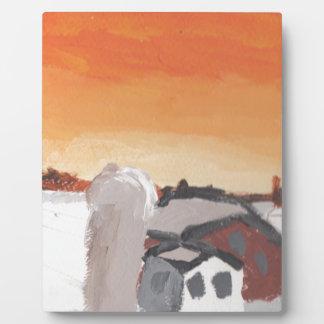 barn farm house sun sunset drawing eliana plaque