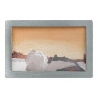 barn farm house sun sunset drawing eliana rectangular belt buckles