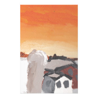 barn farm house sun sunset drawing eliana stationery