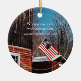Barn Flag Patriotic Reminders All Around Ceramic Ornament