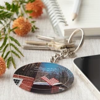 Barn Flag Patriotic Reminders All Around Keychain