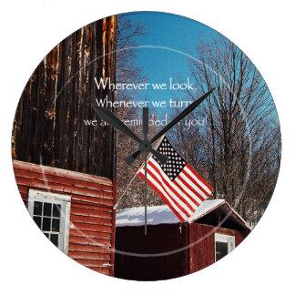 Barn Flag Patriotic Reminders All Around Large Clock