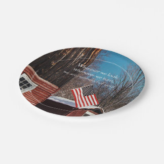 Barn Flag Patriotic Reminders All Around Paper Plate