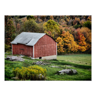 Barn in Autumn - PA Poster