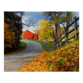 Barn in Fall Poster