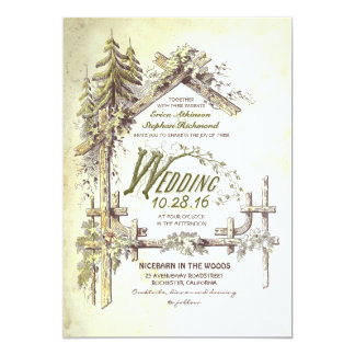 Barn in the Woods Rustic Wedding Invitations