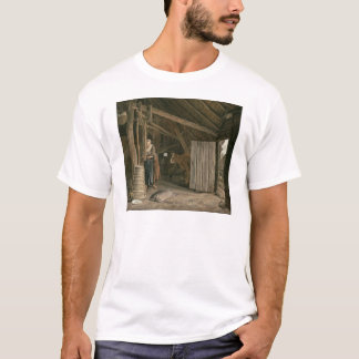 Barn Interior with a Maid Churning Butter T-Shirt
