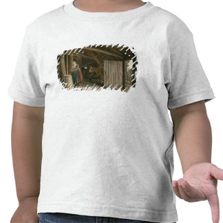 Barn Interior with a Maid Churning Butter Tee Shirt