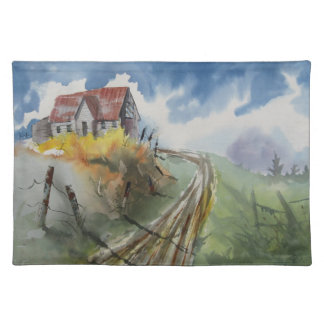 Barn on country road placemat