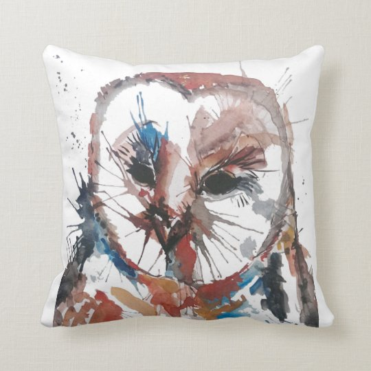 Barn Owl Abstract Throw Pillow