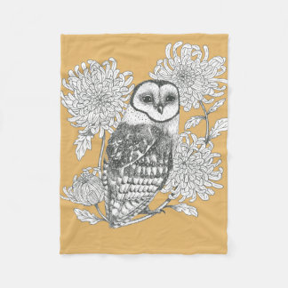 barn owl and chrysanthemums yellow fleece blanket