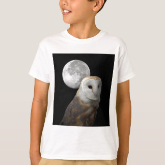 Barn Owl and full moon children's tee shirt