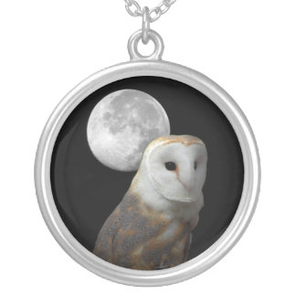 Barn Owl and Full Moon Necklace