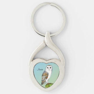 Barn Owl Bird Watercolor Painting Wildlife Artwork Silver-Colored Twisted Heart Keychain