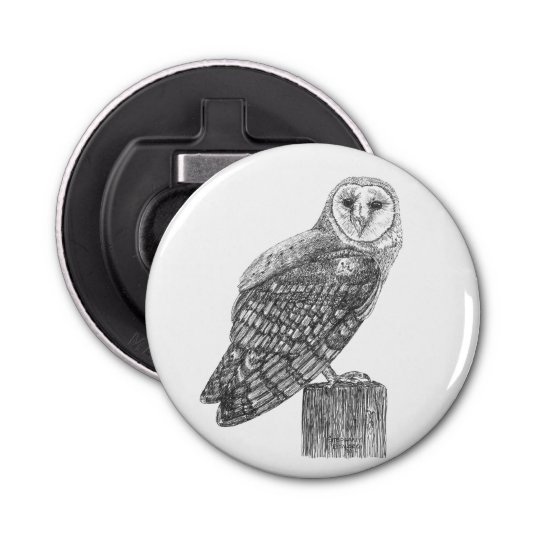 Barn Owl Button Bottle Opener