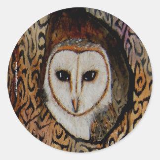 Barn Owl Classic Round Sticker