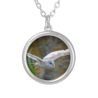 Barn Owl Flying Silver Plated Necklace