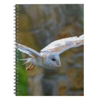 Barn Owl Flying Spiral Notebook