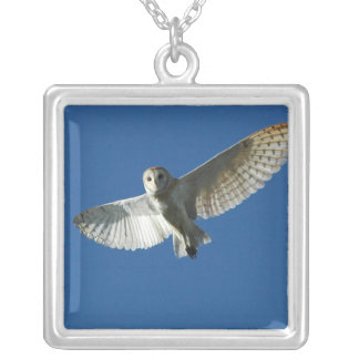 Barn Owl in Daytime Flight Silver Plated Necklace