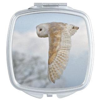 Barn Owl in Flight Compact Mirror