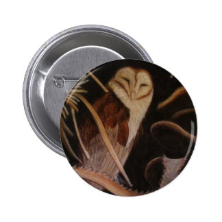 barn owl in pastel animal painting button