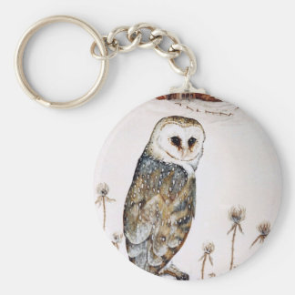 Barn Owl on the hunt Basic Round Button Keychain