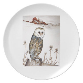 Barn Owl on the hunt Dinner Plate