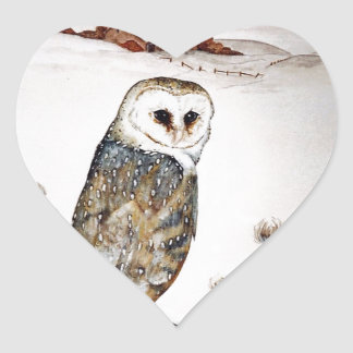 Barn Owl on the hunt Heart Sticker