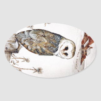 Barn Owl on the hunt Oval Sticker