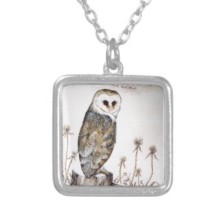 Barn Owl on the hunt Silver Plated Necklace