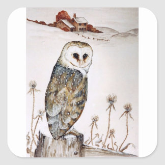 Barn Owl on the hunt Square Sticker
