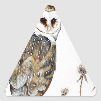 Barn Owl on the hunt Triangle Sticker