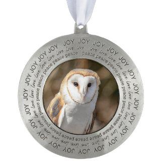 Barn Owl Pewter Ornament