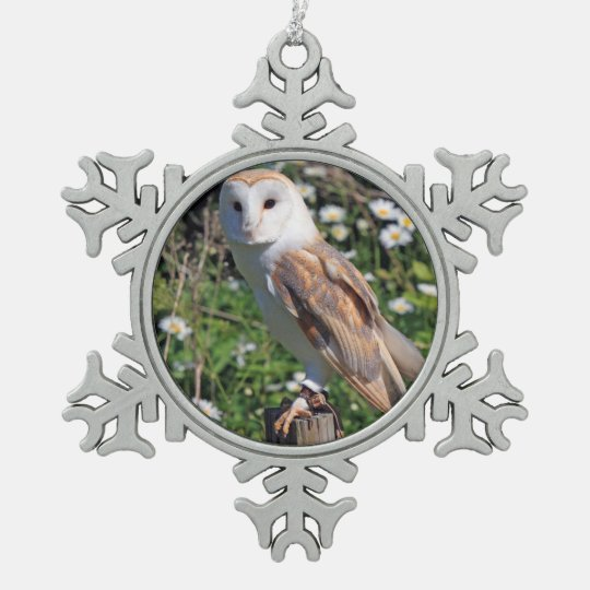 Barn Owl Pewter Snowflake Ornament