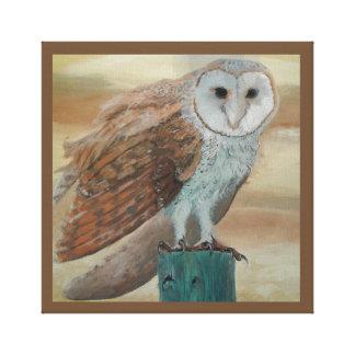 Barn Owl Sunset Canvas Print