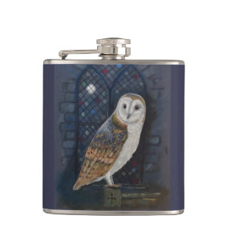 Barn owl Title: By the light of the Silvery moon. Hip Flask